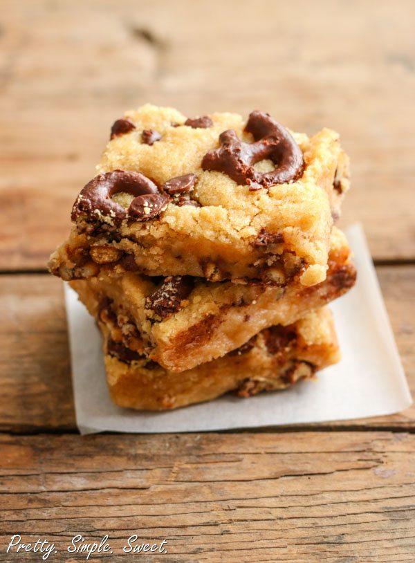 Chocolate Covered Pretzel Peanut Butter Bars   prettysimplesweet.com