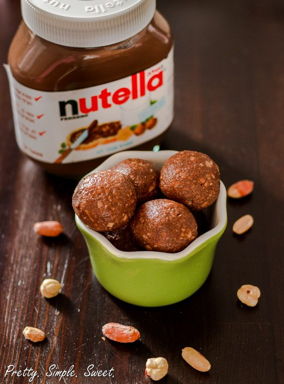 Easy No-Bake Nutella Peanut Butter Bites | prettysimplesweet.com