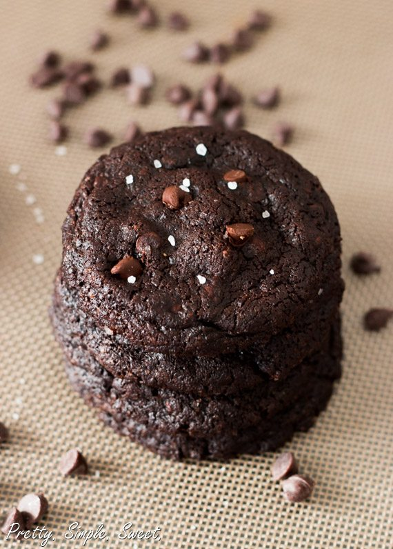 Fudgy and chewy classic double chocolate cookies | prettysimplesweet.com
