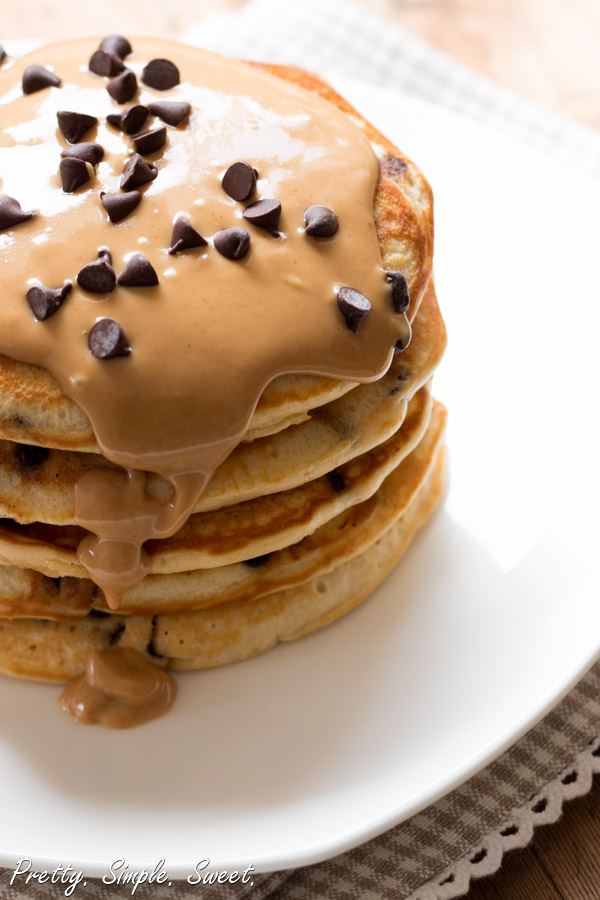 Thick peanut butter pancakes loaded with chocolate chips and drizzled with melted, warm peanut butter.   prettysimplesweet.com