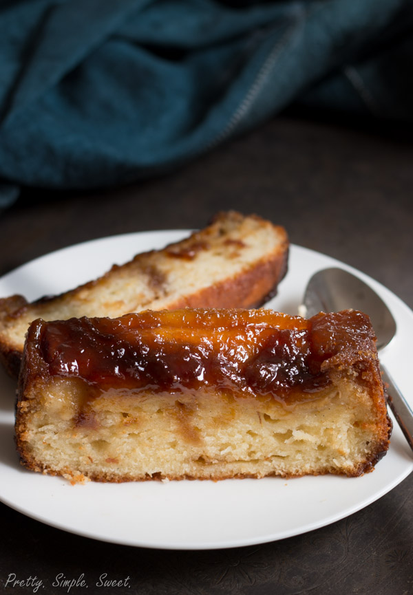Upside Down Banana Cake With Caramel Sauce