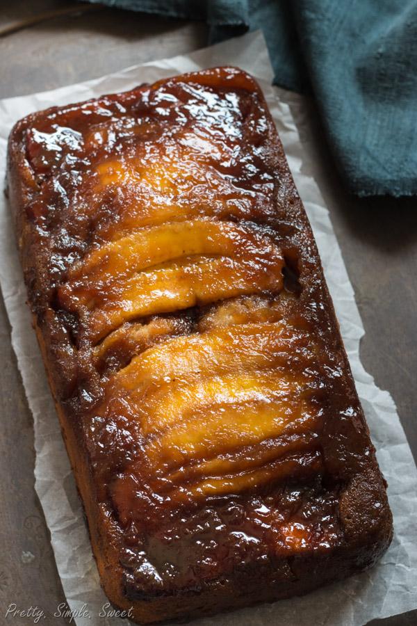 Caramel Banana Upside Down Cake | prettysimplesweet.com