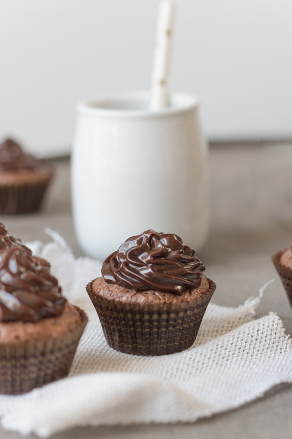 Bite-sized fudgy chocolate brownie cupcakes with a rich chocolate ganache frosting that takes only 2 minutes to make.