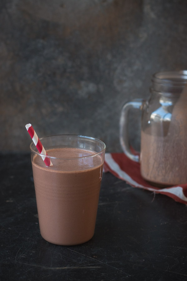 Healthy Chocolate Peanut Butter Smoothie | prettysimplesweet.com