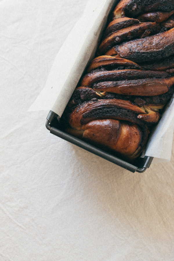 Chocolate Babka in loaf pan
