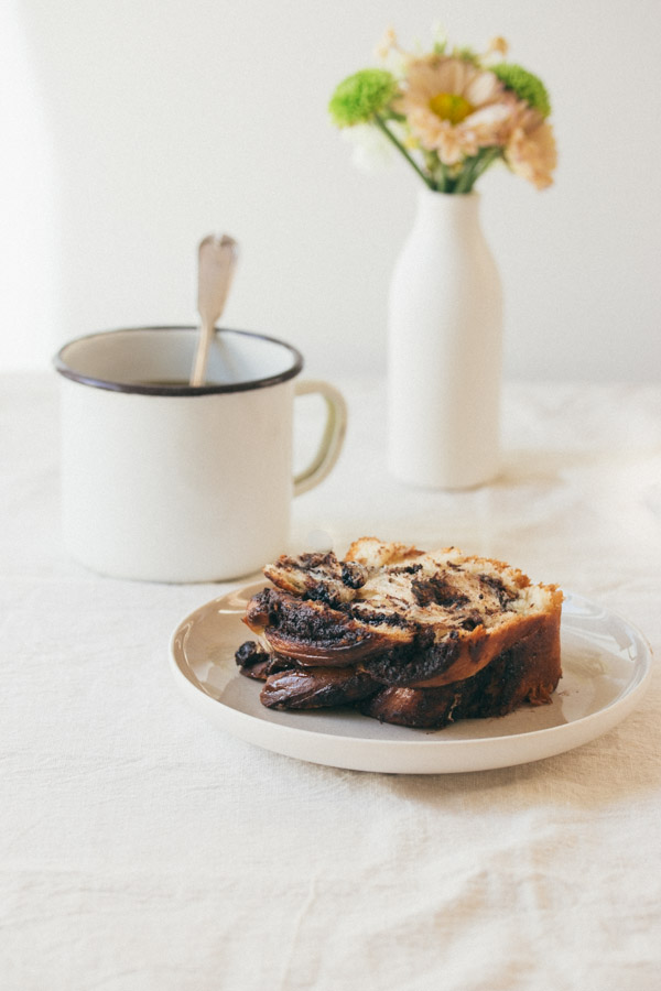 Babka Cake on plate with coffee