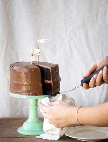 Layered with a creamy fudge frosting, this easy-to-make chocolate layer cake is moist with a deep chocolate flavor.   prettysimplesweet.com