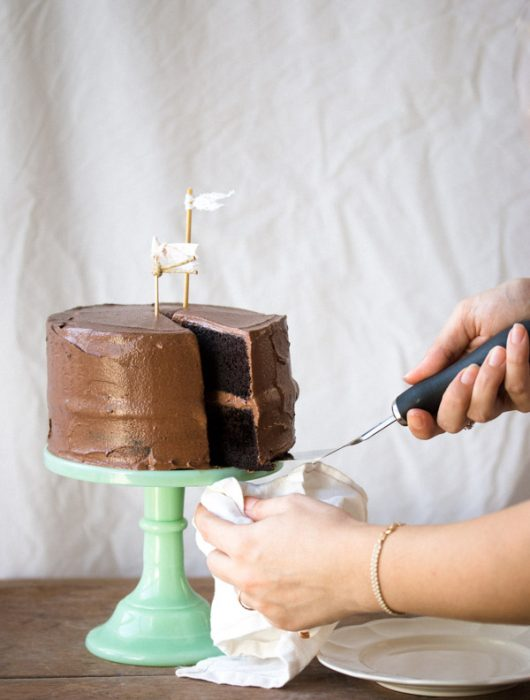 Layered with a creamy fudge frosting, this easy-to-make chocolate layer cake is moist with a deep chocolate flavor. | prettysimplesweet.com