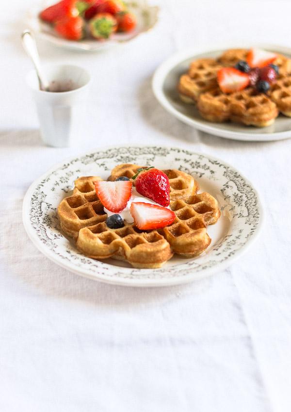 Crispy, soft and fluffy homemade waffles | prettysimplesweet.com