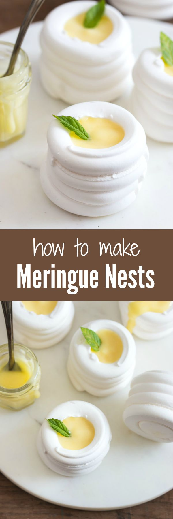 Soft and crunchy meringue nests that will melt in your mouth. Make them large or mini, and fill them with anything you want.   prettysimplesweet.com