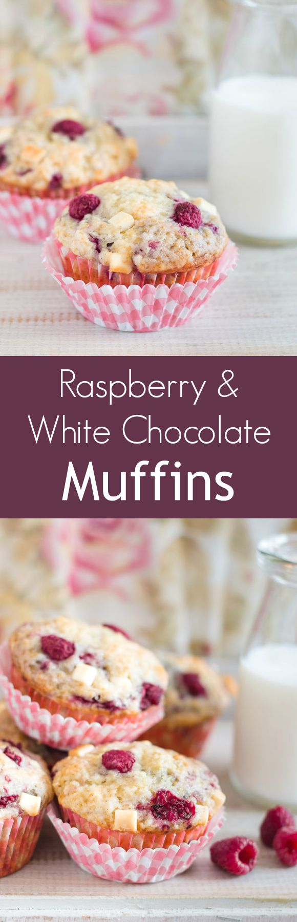 Moist and fluffy raspberry and white chocolate muffins - a heavenly combination! | prettysimplesweet.com