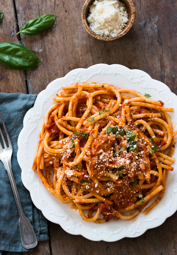 Pasta with Tomato Cream Sauce | prettysimplesweet.com