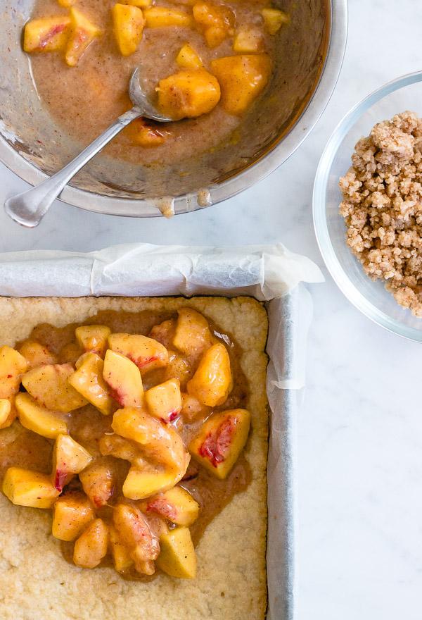 Peaches and Cream Crumble Bars   prettysimplesweet.com