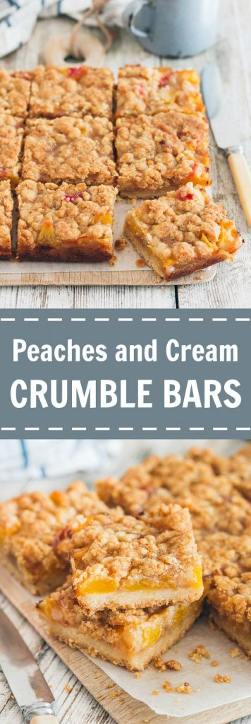 Peaches and Cream Crumble Bars | prettysimplesweet.com