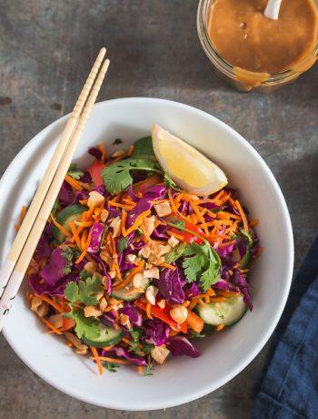 Crunchy Thai Salad with Peanut Dressing | prettysimplesweet.com