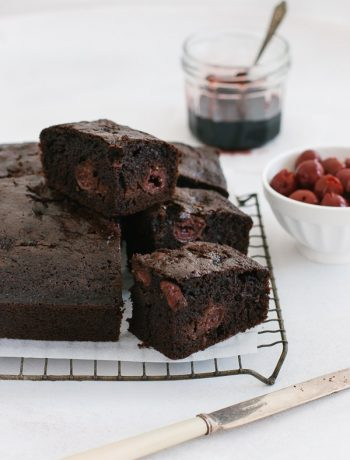 Quick-to-make moist chocolate cherry cake (dairy-free) | prettysimplesweet.com