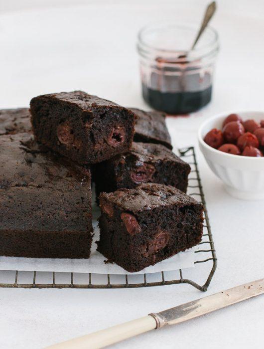 Quick-to-make moist chocolate cherry cake (dairy-free) | prettysimplesweet.com