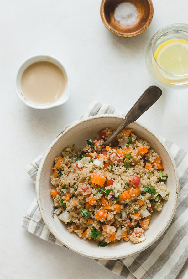 Quinoa Salad With Vegetables and Tahini Dressing