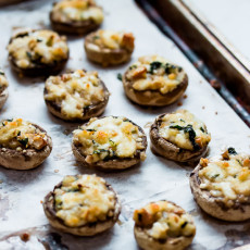 Addictive mushroom bites filled with cheeses, nuts, and herbs. They make the perfect brunch appetizer!