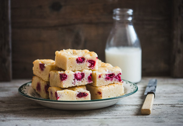 Raspberry White Chocolate Blondie Brownies
