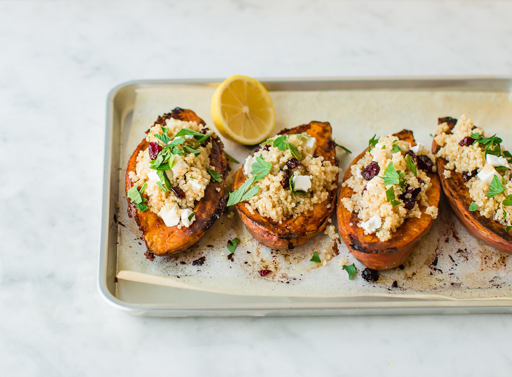 Sweet Potatoes Stuffed with Quinoa, Dried Cranberries and Feta