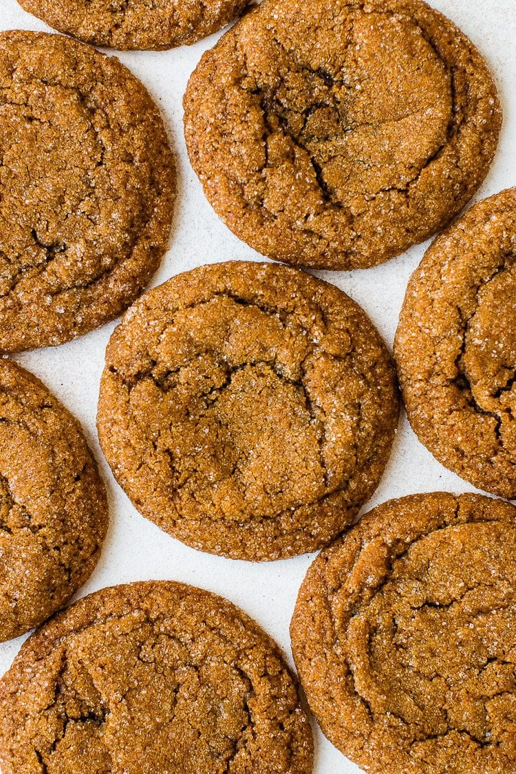 Super soft and chewy spiced molasses cookies. They make a delicious snack especially during the holidays!