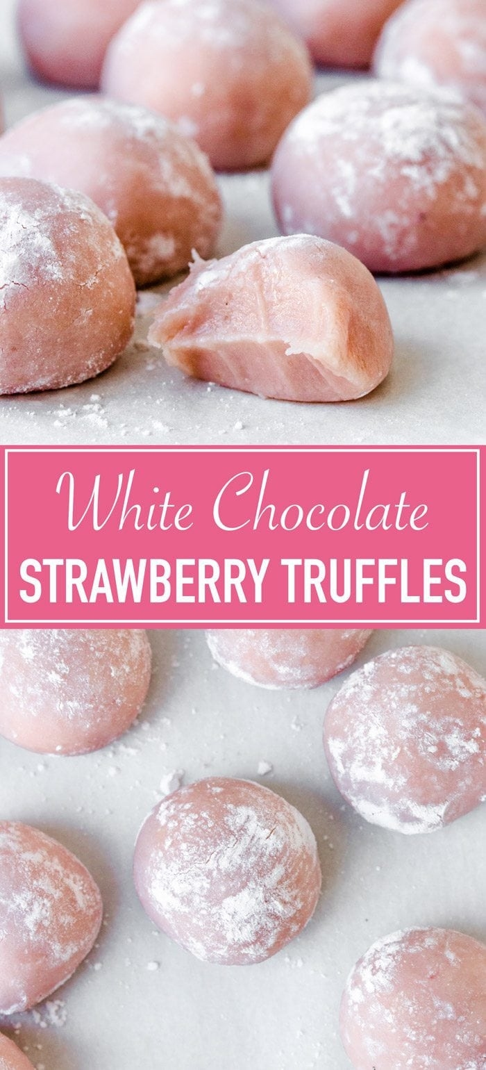 Fudgy white chocolate strawberry truffles
