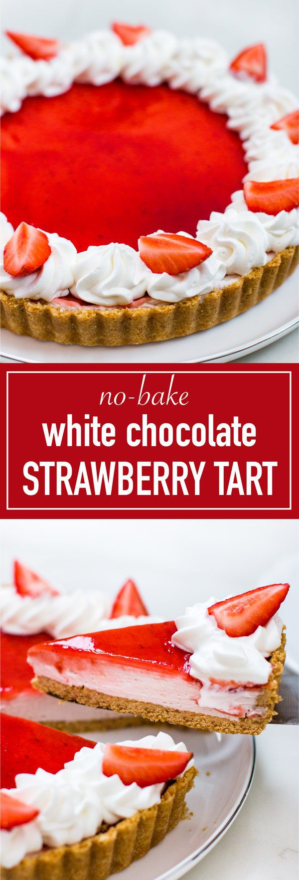 Easy and simple to make white chocolate strawberry tart. 3 layers of of cookie crust, white chocolate ganache mousse, and strawberry jam glaze.