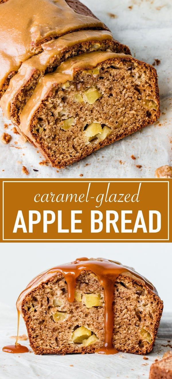 Moist apple bread glazed with a thick and crunchy caramel icing.