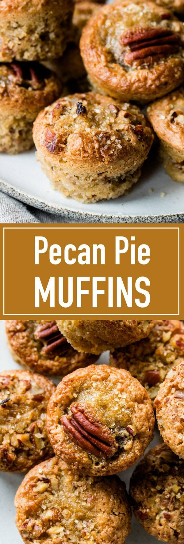 Addictive mini gooey pecan muffins that taste just like pecan pie! Perfect as a snack or as a gift during the holidays.