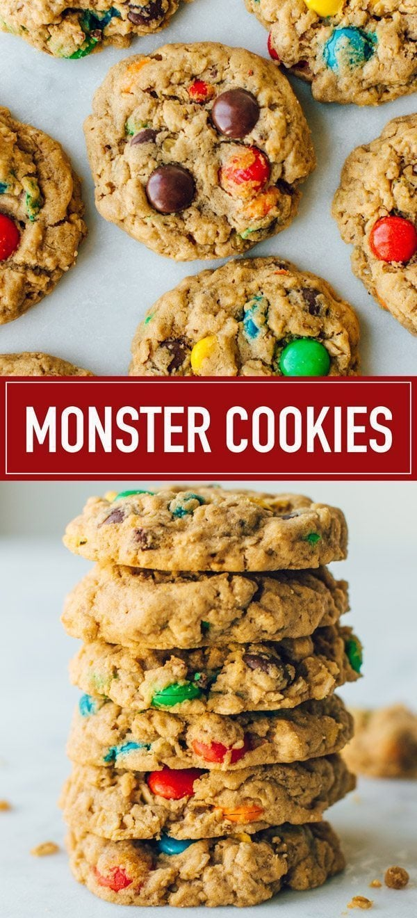 The best soft, chewy and thick MONSTER COOKIES. Super easy to make and loaded with oatmeal, peanut butter, M and Ms and chocolate chips.