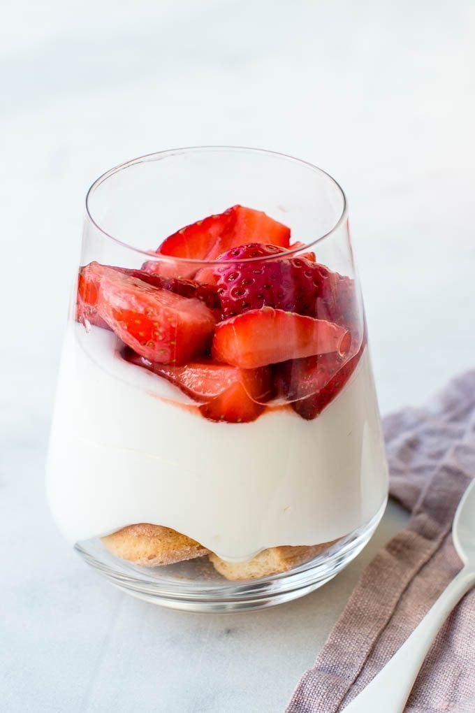 Strawberry white chocolate cheesecake in a jar.