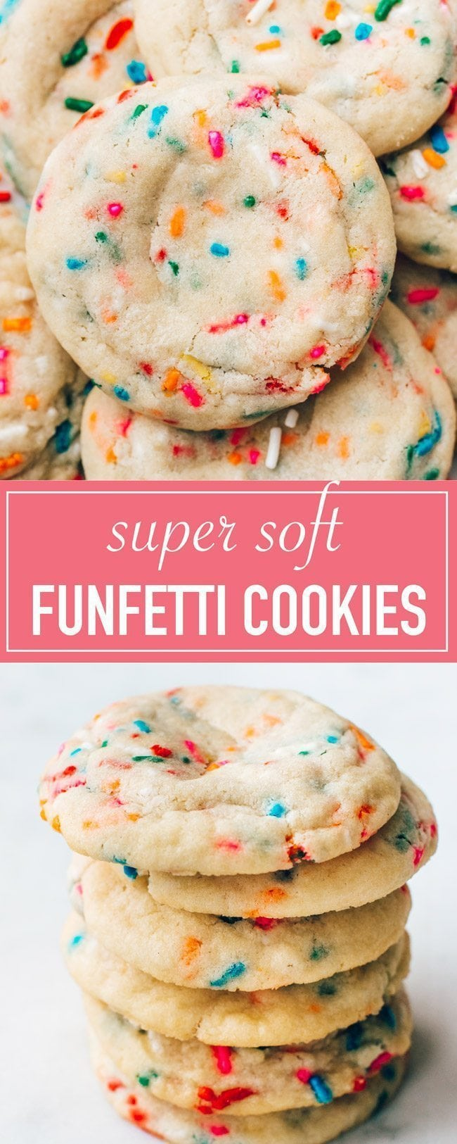 The BEST recipe for soft funfetti sugar cookies. They are chewy, dotted with sprinkles, and have an amazing buttery vanilla flavor. Festive and perfect for birthdays!