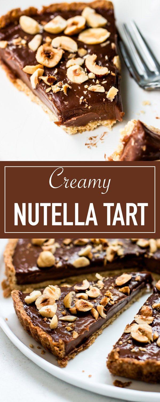 The best Nutella tart with hazelnut crust. Creamy and chocolatey with a rich chocolate hazelnut filling.