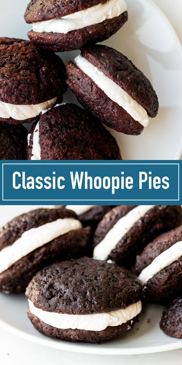 The best whoopie pies recipe with 3 optional fillings: marshmallow, buttercream, or cream cheese.