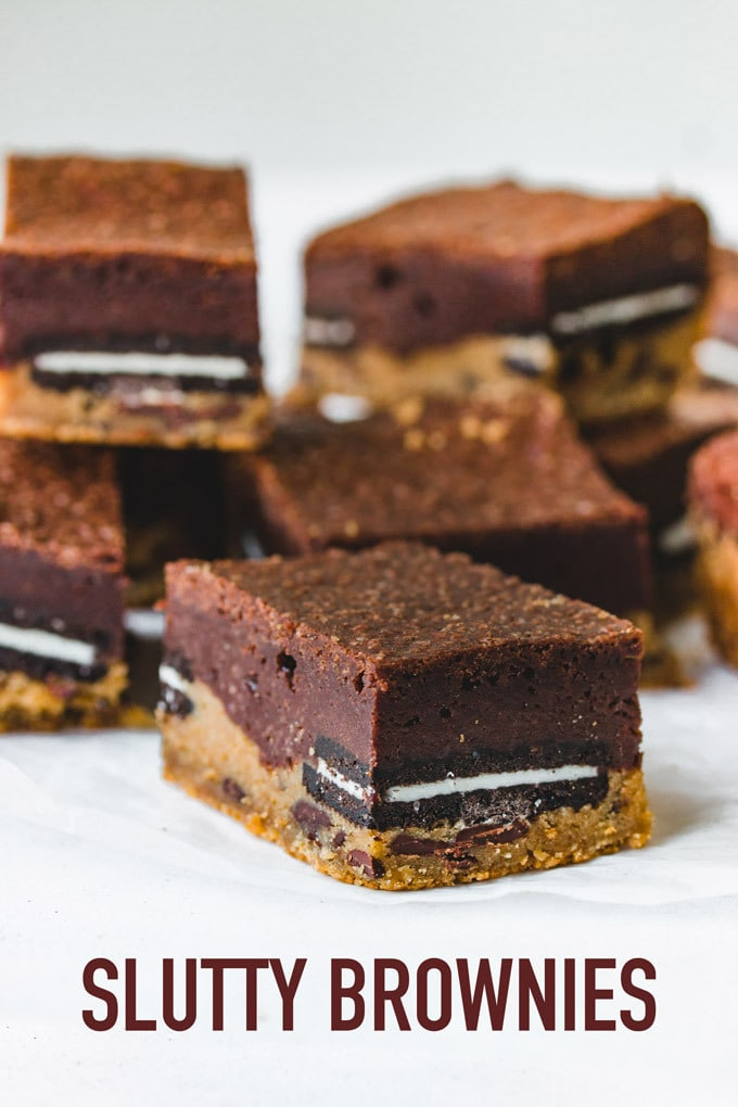 Ultimate slutty brownies made of three layers of chewy chocolate chip cookies dough, soft Oreos, and fudgy brownies. Easy Recipe.