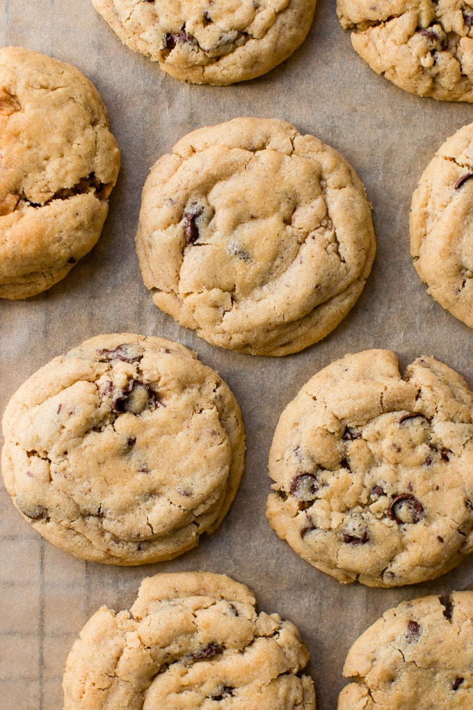 Easy peanut butter chocolate chip cookies without brown sugar