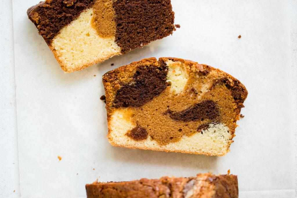 Chocolate, Dulce de Leche and Vanilla Marble Cake