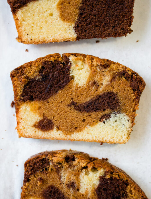 Chocolate, Dulce de Leche and Vanilla Marble Cake